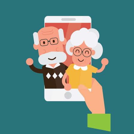 Ilustración de Online video call with elder age parents or grandparents. - Imagen libre de derechos