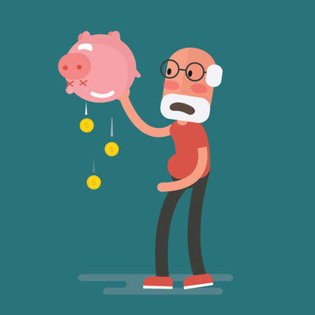Illustration pour Financial crisis - Senior Man with piggy bank, Pension - image libre de droit