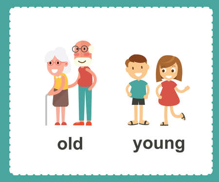 Illustrazione per Opposite English words showing old and young vector illustration - Immagini Royalty Free