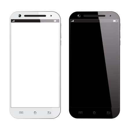 Realistic black and white smartphone isolated on white background. Vector design smart phones. Mobile phone mockup.