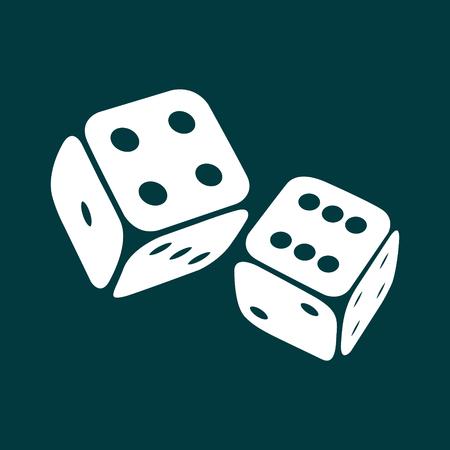 Dice icon. Two game dices, casino symbol minimal design. Vector illustration
