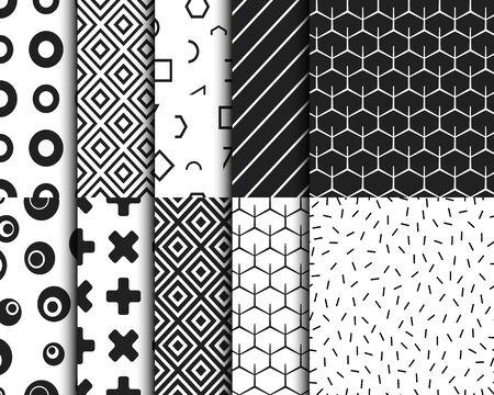Illustration for Geometric retro seamless pattern background template set. Vector illustration - Royalty Free Image
