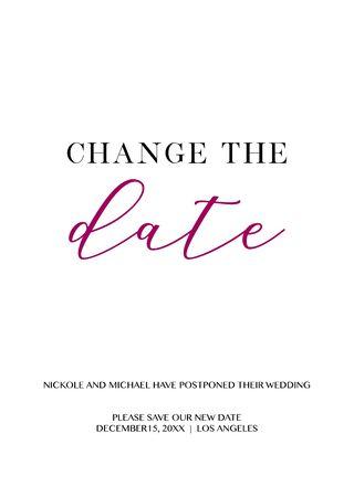 Illustration pour Wedding Postponement Change the Date Announcement Vector card - image libre de droit