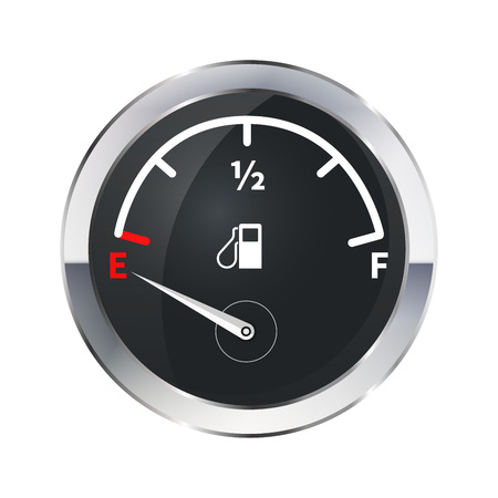 Illustration pour Out of fuel, glossy metallic indicator isolated on white - image libre de droit