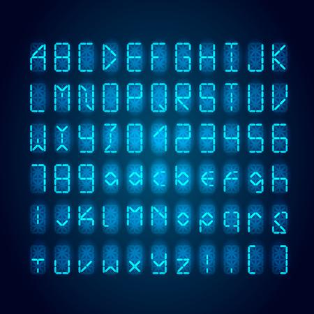 Illustration pour Set of bright blue digital retro clock font on dark - image libre de droit