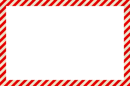 Illustration for Warning sign red and white stripes frame, industrial background - Royalty Free Image