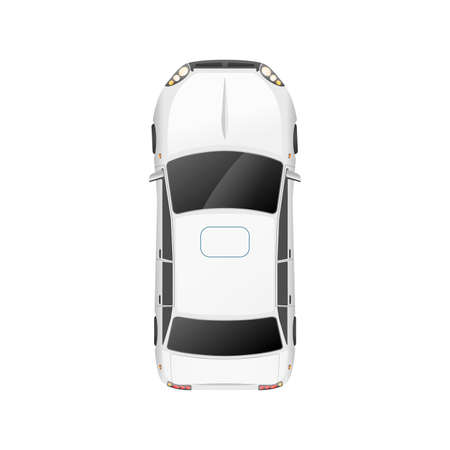 Illustration for Top view of realistic glossy white casual car on white - Royalty Free Image