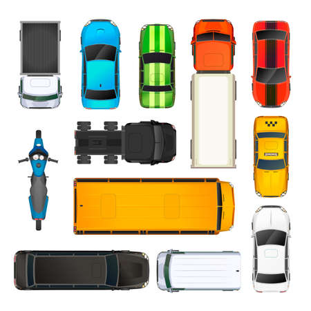 Illustration pour Set of different cars top view, on white - image libre de droit