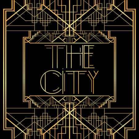 Illustration pour Art Deco The City text. Golden decorative greeting card, sign with vintage letters. - image libre de droit