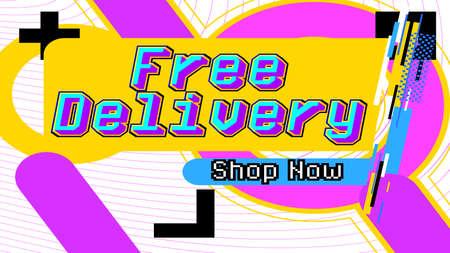Illustration pour Free Delivery, Shop Now - service banner template design, business poster. Free shipping order promotion. Vector illustration. Store label. - image libre de droit