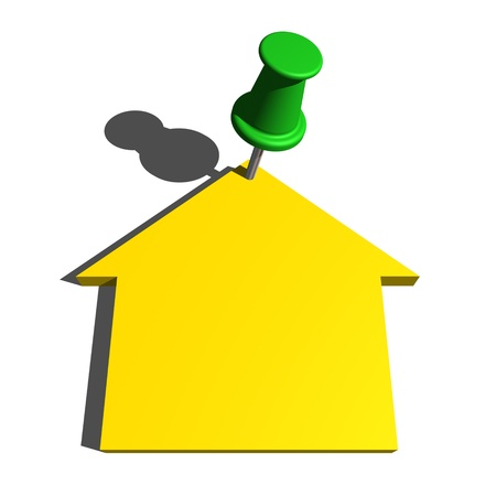 push pin and house