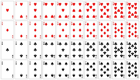 playing cards ace to ten 62x90 mm