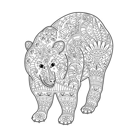Illustration for Vector illustration of bear. Coloring page book anti stress for adult - Royalty Free Image