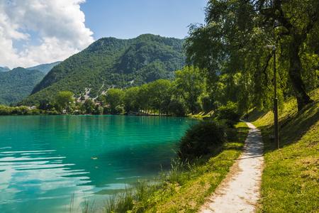 Path at Soca river in Most na Soci, Slovenia