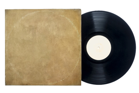 Retro Long Play Vinyl Record with sleeve on a white background with copy space
