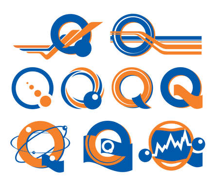 Q-shaped logo. Orange blue logotype with letter Q