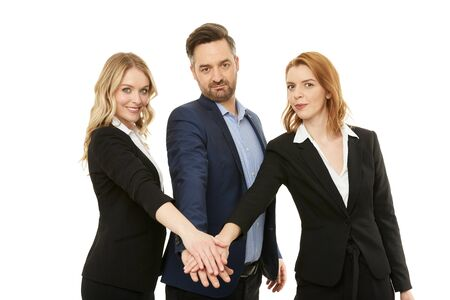 Photo for Businessman with two beautiful businesswomen. Teamwork. - Royalty Free Image