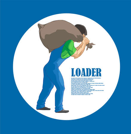 Illustration for Illustration, hard worker pulling a heavy bag - Royalty Free Image