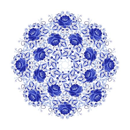 Illustration pour Round plate with a floral ornament of blue color on a white background, made in folk Russian style Gzhel - image libre de droit
