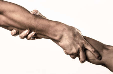 Photo for Two hands, helping arm of a friend, teamwork. Helping hand concept and international day of peace, support. Helping hand outstretched, isolated arm, salvation. Close up help hand - Royalty Free Image