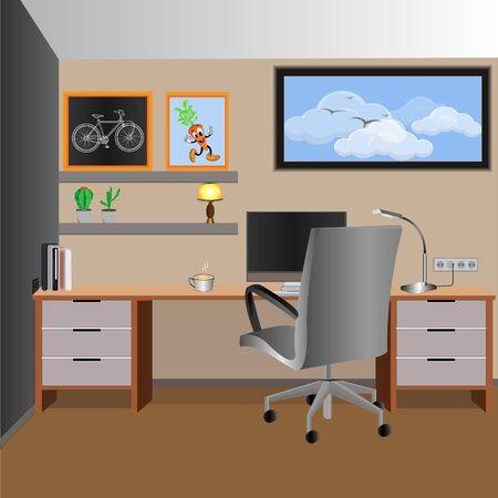 Illustration for vector illustration of working room  design for an animated background. design inspiration interior furniture. - Royalty Free Image