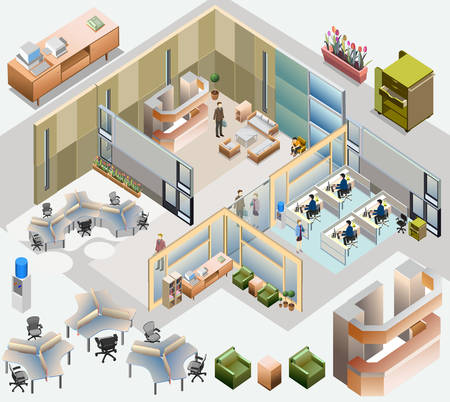 office isometric  with completed workstation, meeting room, receptions, lobby, include business people, activity