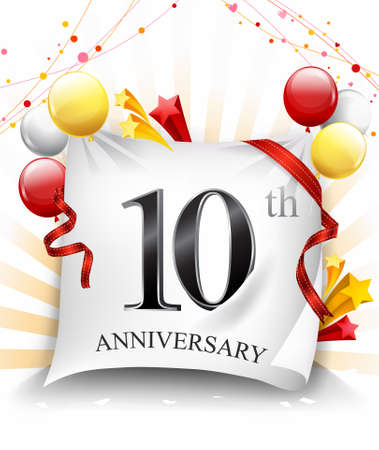 10 Years Anniversary Celebration Design on cloth, with star and balloons, Colorful Vector template elements for your birthday party. - Vector