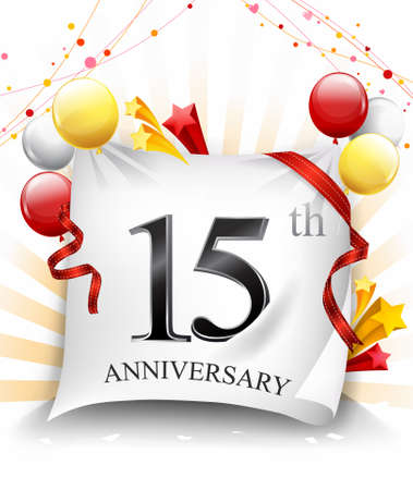 15 Years Anniversary Celebration Design on cloth, with star and balloons, Colorful Vector template elements for your birthday party. - Vector
