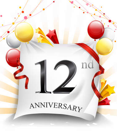 12th Years Anniversary Celebration Design on cloth, with star and balloons, Colorful Vector template elements for your birthday party. - Vector