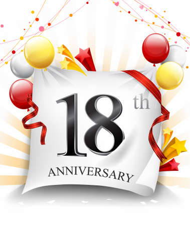 18 Years Anniversary Celebration Design on cloth, with star and balloons, Colorful Vector template elements for your birthday party. - Vector