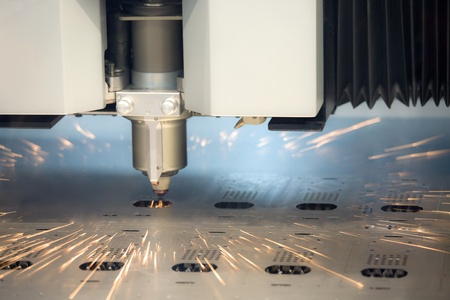 laser cutting machine technology industry background in factory