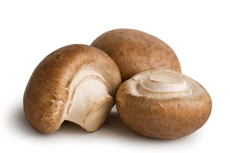 Fresh Mushrooms Vegetables Isolated on White Background