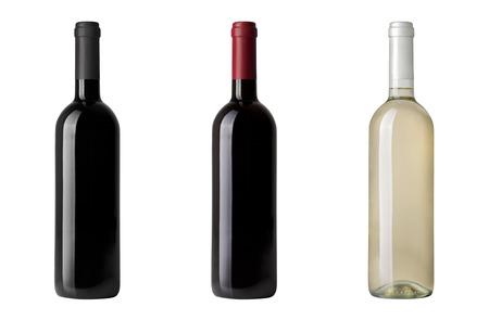 Photo pour red wine bottle isolated on white - image libre de droit