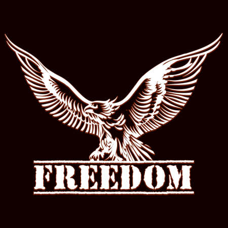 illustration of eagle over inscription freedom drawn in engraving style
