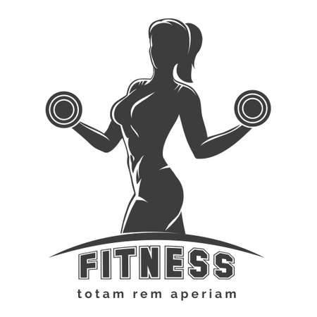 Fitness club logo or emblem with woman silhouette. Woman holds dumbbells. Isolated on white background. Free font SF Collegiate and Raleway used.