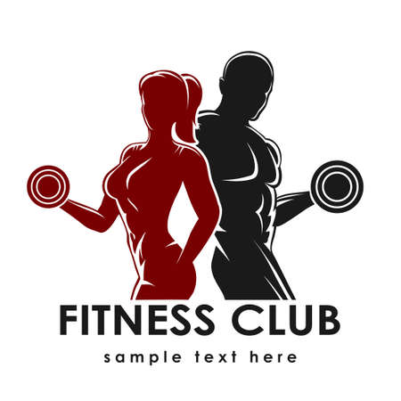 Ilustración de Fitness club logo or emblem with woman and man silhouettes. Woman and Man holds dumbbells. Isolated on white background. Free font Raleway used. - Imagen libre de derechos