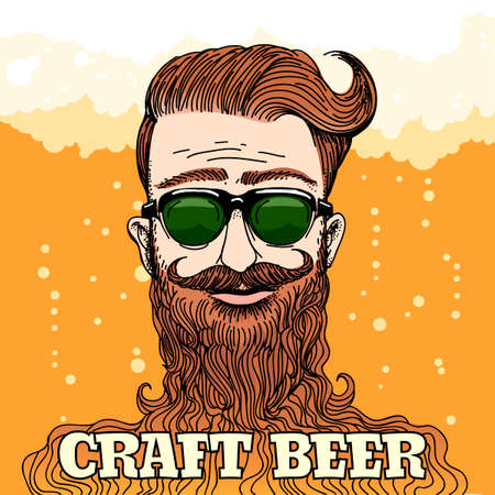 Hipster Head with huge beard with lettering Craft beer against beer foam and bubbles. Colorful illustration in retro style.