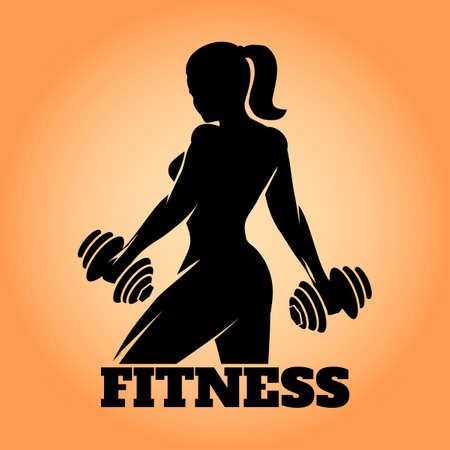 Foto de Fitness club and gym banner or poster design. Silhouette of athletic woman with dumbbells. Free font used. - Imagen libre de derechos