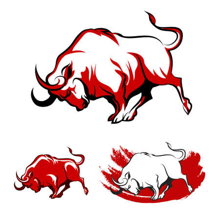 Fighting Bull Emblem set. Running Angry Bull in three variations. Isolated on white background.