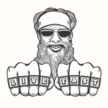 Illustration pour Bearded smiling biker in glasses and bandana holds his fists with club rings Live Fast. Illustration in cartoon style. - image libre de droit