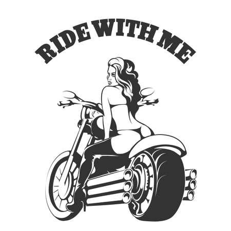 Ilustración de Sexy biker girl in bikini and boots on a motorcycle with wording Ride with me. Free font Used - Imagen libre de derechos