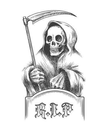 Illustration pour Death with a scythe on the cemetery over a tombstone. Illustration in engraving style. - image libre de droit