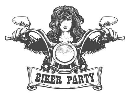 Illustration pour Sexy girl ride a motorbike. Biker party poster design. Vector illustration - image libre de droit