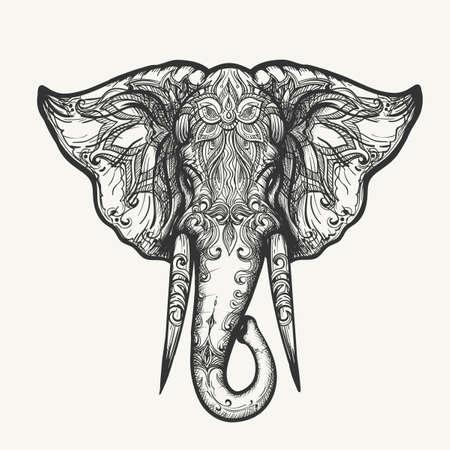 Ilustración de Elephant Head in Henna style. Hand drawn black and white zentangle vector illustration. - Imagen libre de derechos