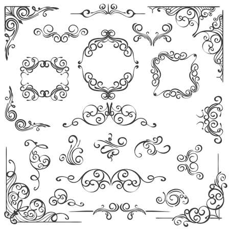 Illustration for Set of hand drawn Ornate swirl decor elements. Frames headers and scrolls isolated on white. Vector illustration. - Royalty Free Image