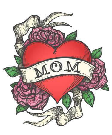 Ilustración de Heart with rose flowers and ribbon with wording MOM. Retro tattoo vector illustration - Imagen libre de derechos
