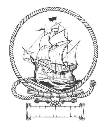 Ilustración de Sailing ship in rope frame with ship cannons drawn in engraving style. Vector illustration. - Imagen libre de derechos