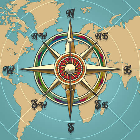 Illustration pour Classic vintage wind compass rose on map background drawn in retro style. Vector illustration. - image libre de droit