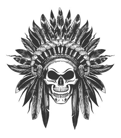 Illustration pour Human Skull in Native American Indian War Bonnet drawn in tattoo style. Vector illustration. - image libre de droit