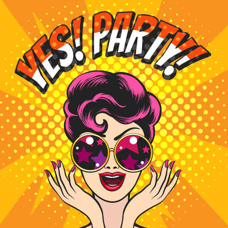 Photo for Young Girl in Glasses and Wording Yes Party  against disco lights background drawn in Pop art style. Vector illustration. - Royalty Free Image